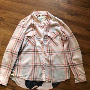 Women's light pink plaid button up blouse